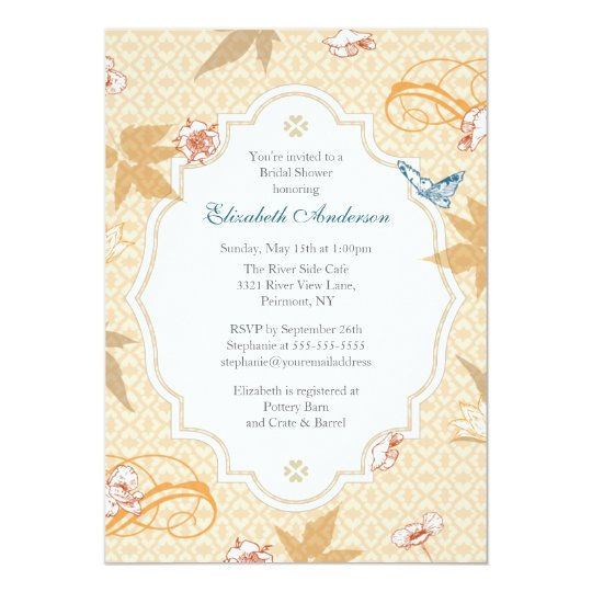 Elegant Fall  Bohemian Bridal Shower Invitation