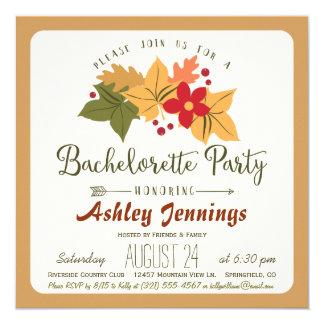 Elegant Fall Leaves & Berries Bachelorette Party 13 Cm X 13 Cm Square Invitation Card
