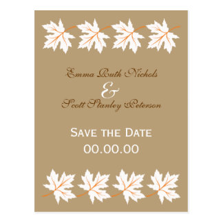 Elegant Fall Maple Leaf Save The Date Postcard
