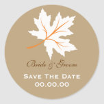 Elegant Fall Maple Leaf Save The Date Sticker