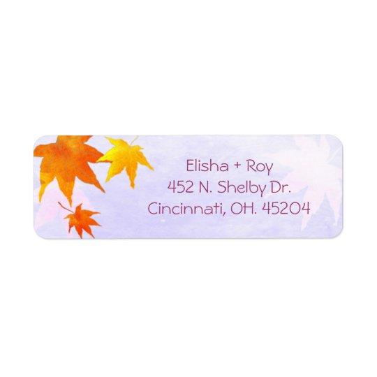 Elegant Fall Maple Wedding Return Address Return Address Label