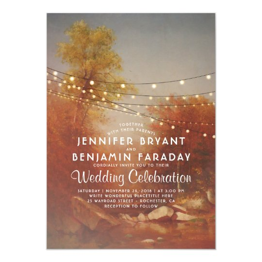 Elegant Fall Trees Rustic String Lights Wedding Card