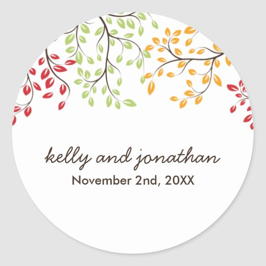 Elegant Fall Wedding Stickers