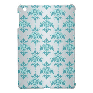 Elegant Fancy Silver White Aqua Teal Damask iPad Mini Covers