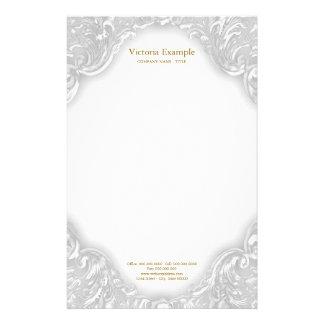 Elegant Fancy White Gold Swirl Stationery