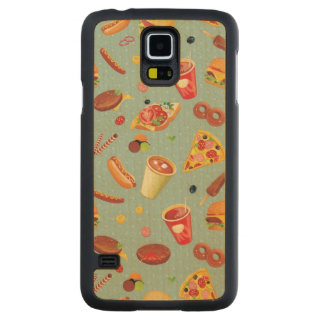 Elegant Fast Food Pattern Carved Maple Galaxy S5 Case