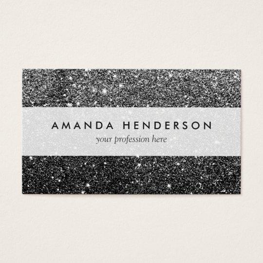 Elegant Faux Black Glitter Business Card