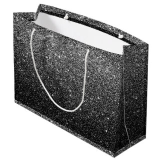 Elegant Faux Black Glitter Large Gift Bag
