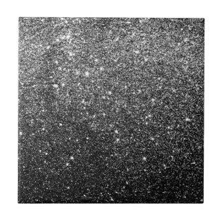 Elegant Faux Black Glitter Small Square Tile