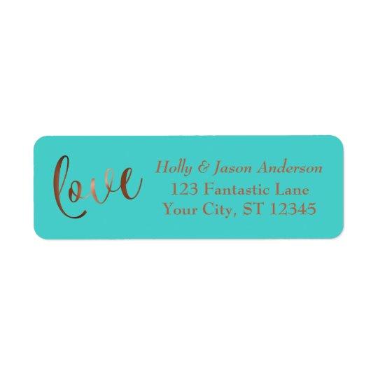 Elegant Faux Copper Foil Love Script w/ Turquoise