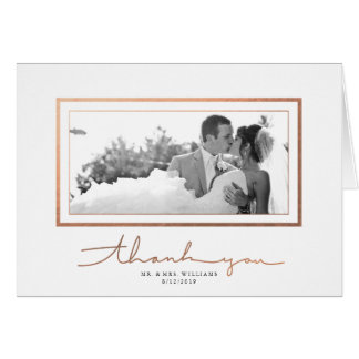 Elegant Faux Copper Frame Photo Thank You Card
