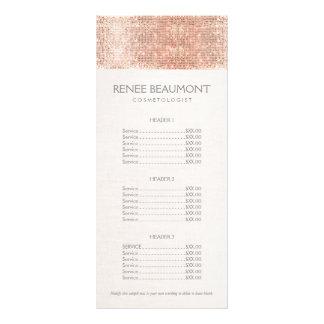 Elegant Faux Copper Sequins Salon Price List Menu Rack Card