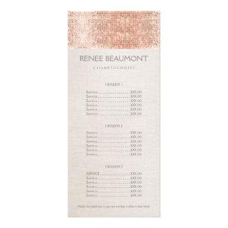 Elegant Faux Copper Sequins Salon Price List Menu Personalised Rack Card
