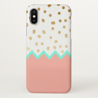 elegant faux cute gold polka dots mint and pink iPhone x case