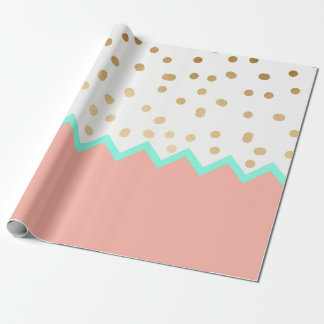 elegant faux cute gold polka dots mint and pink wrapping paper
