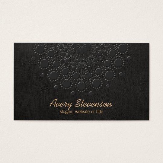 Elegant Faux Embossed Black Linen Look Business Card