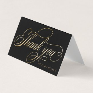Elegant Faux Foil Calligraphy Thank You Card