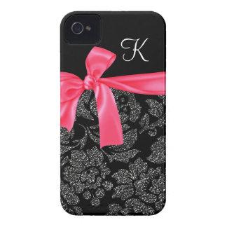 Elegant Faux Glitter Damask Girly Hot Pink Bow iPhone 4 Case