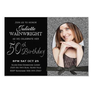 Elegant Faux Glitter Photo 50th Birthday Party Card