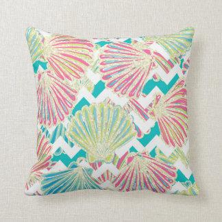 Elegant Faux Glitter Seashells on Chevrons Cushion