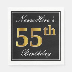Elegant Faux Gold 55th Birthday Custom Name Paper Napkin