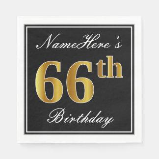 Elegant, Faux Gold 66th Birthday + Custom Name Disposable Napkin