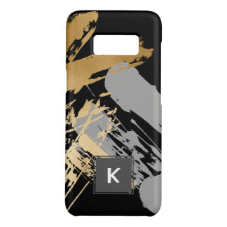 elegant faux gold and grey brushstrokes Case-Mate samsung galaxy s8 case