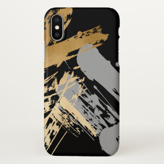 elegant faux gold and grey brushstrokes iPhone x case