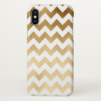 elegant faux gold and white chevron pattern iPhone x case