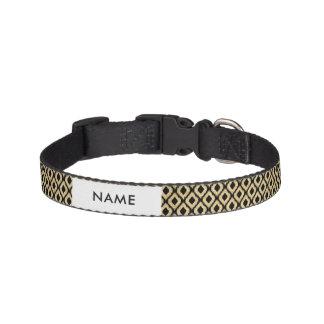 Elegant Faux Gold Black Glitter Tribal Pattern Pet Collar