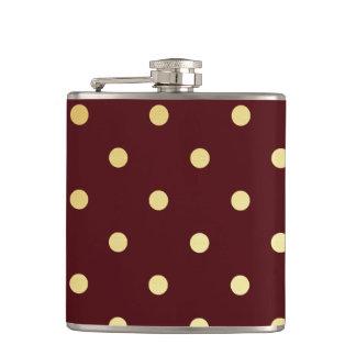 elegant faux  gold brown polka dots hip flask