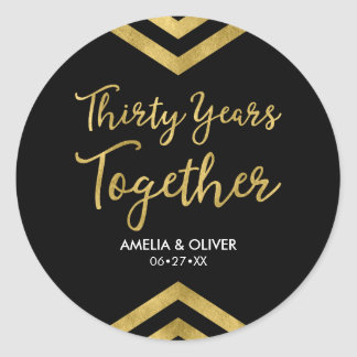 Elegant Faux Gold Chevron 30th Wedding Anniversary Round Sticker