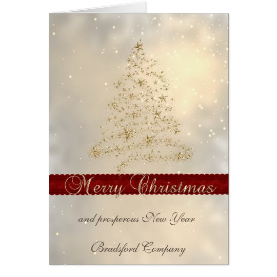 Elegant Faux Gold Christmas Tree,Corporate Card