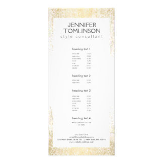 Elegant Faux Gold Confetti Dots on White Rack Card