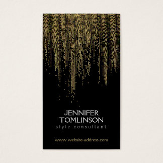 Elegant Faux Gold Confetti Dots Pattern Black Business Card