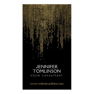 Elegant Faux Gold Confetti Dots Pattern Black Pack Of Standard Business Cards