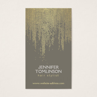 Elegant Faux Gold Confetti Dots Pattern Gray Business Card