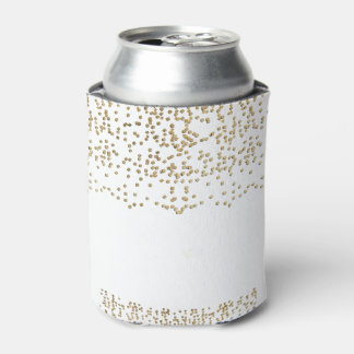 Elegant Faux Gold Confetti Pattern Can Cooler