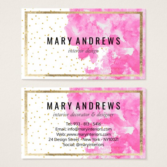 Elegant faux gold confetti pink wash watercolor business card