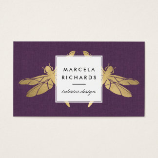 Elegant Faux Gold Dragonfly Duo on Purple Linen Business Card