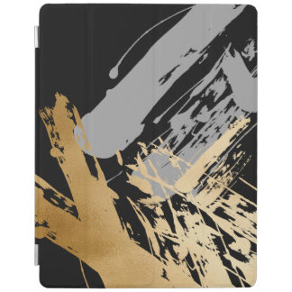elegant faux gold foil and grey brushstrokes iPad cover