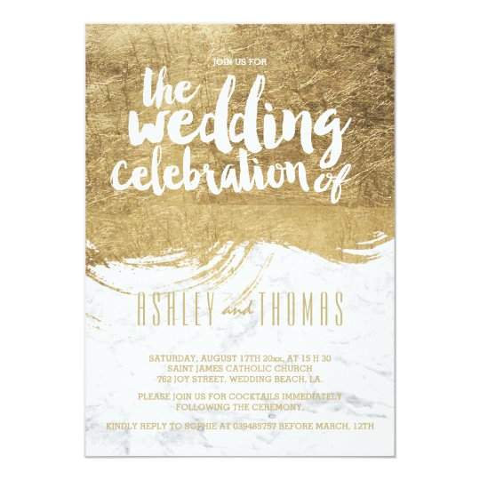 Elegant faux gold foil brushstroke marble wedding card
