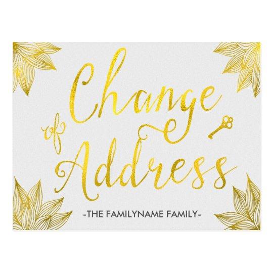 Elegant Faux Gold Foil Change of Address Postcards