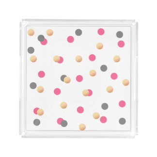 elegant faux gold foil grey pink confetti dots acrylic tray