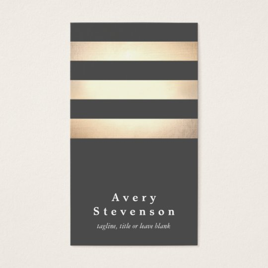 Elegant Faux Gold Foil Striped Modern Dark Grey