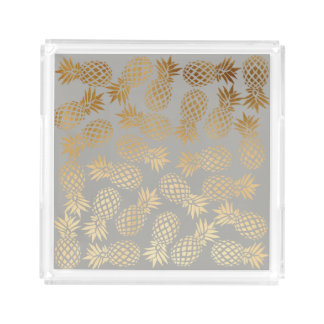 elegant faux gold foil tropical pineapple pattern acrylic tray