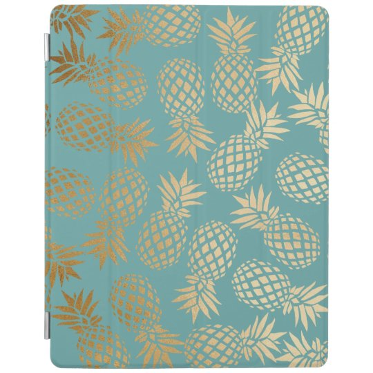 elegant faux gold foil tropical pineapple pattern iPad