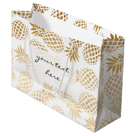 elegant faux gold foil tropical pineapple pattern large