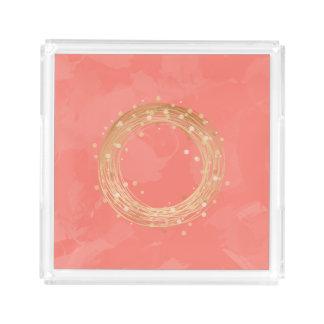 elegant faux gold foil wreath pink brushstrokes acrylic tray