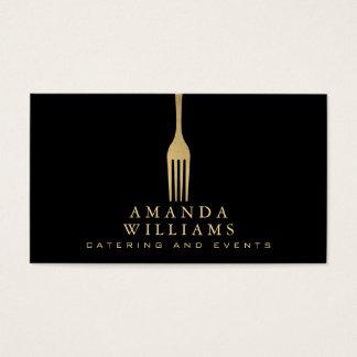 Elegant Faux Gold Fork Catering Logo on Black Business Card